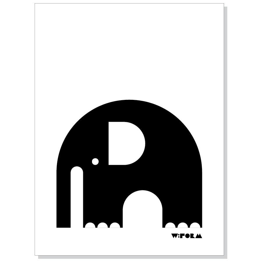 Elephant B/W 30x40cm