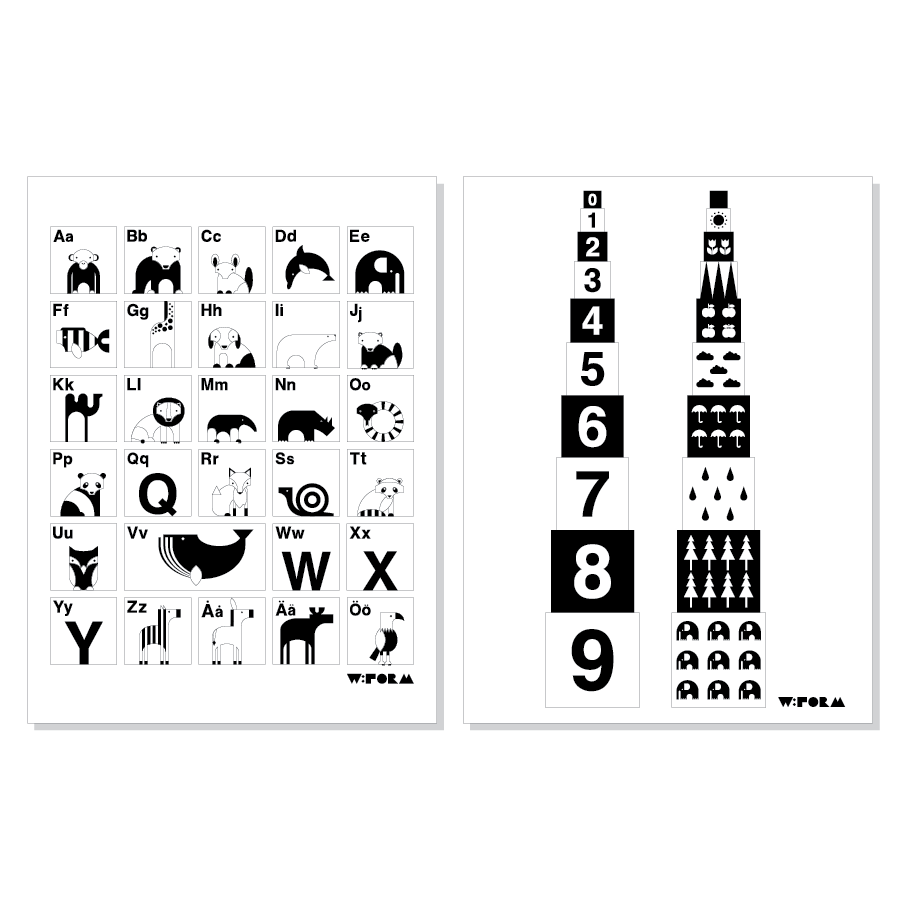 ABC Swedish + Numbers B/W 30x40cm