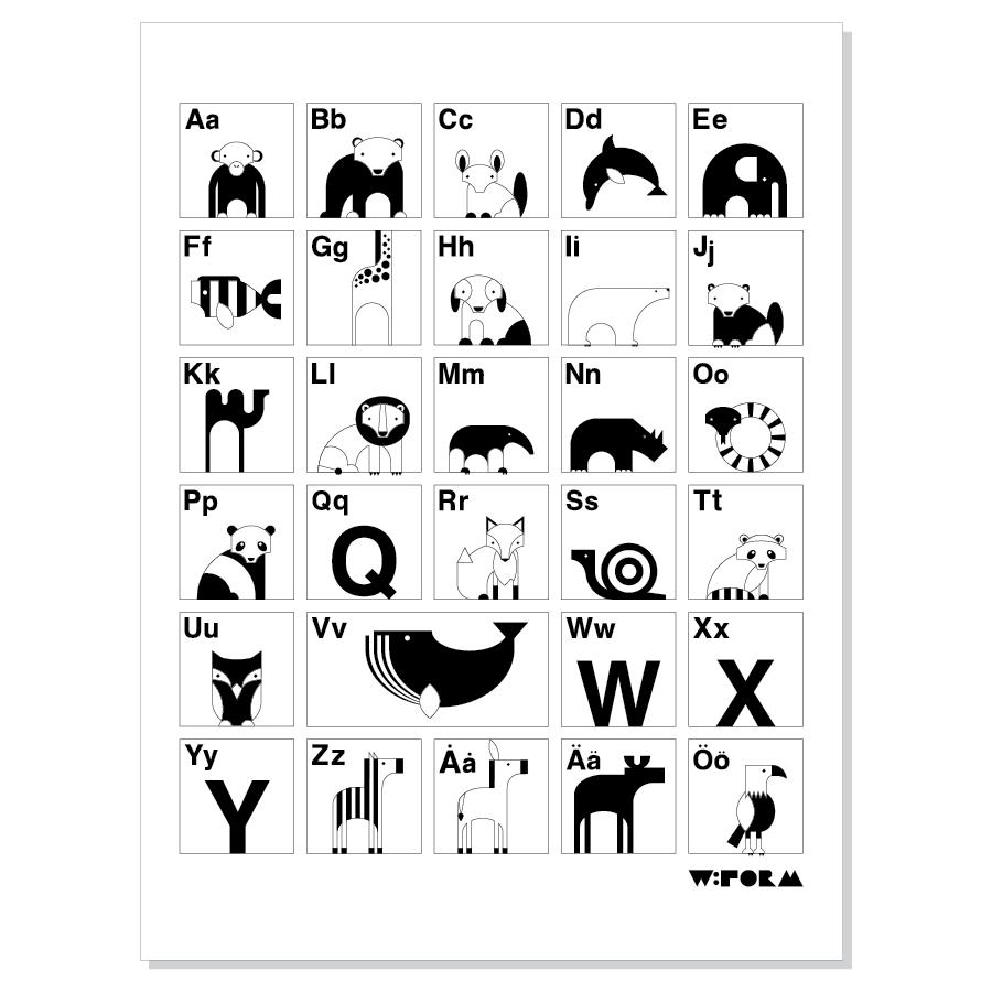 ABC affisch svartvit 30x40 cm