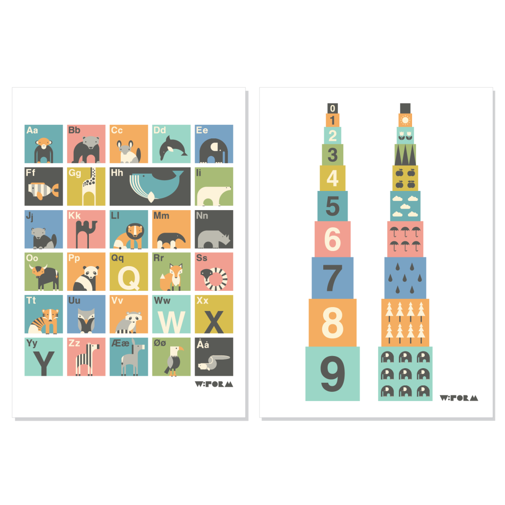 ABC Danish + Numbers Multicolor A3 1
