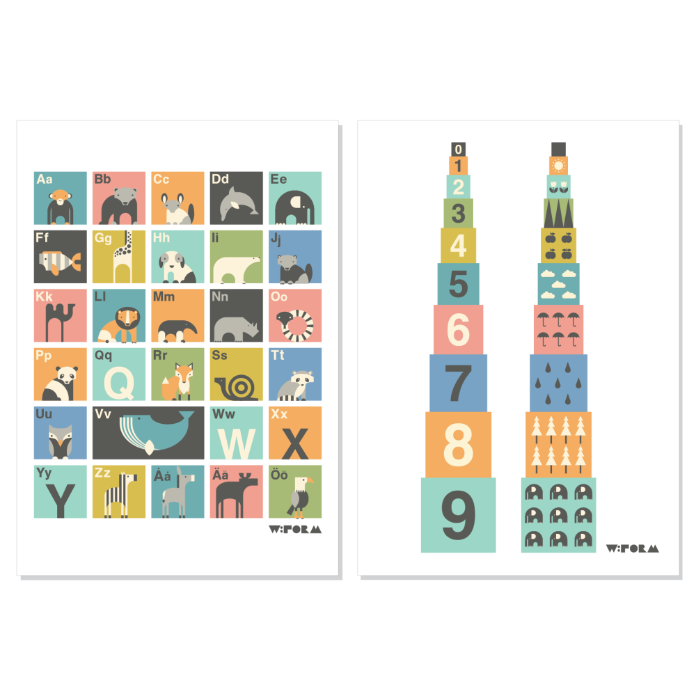 ABC Swedish + Numbers Multicolor A3 1