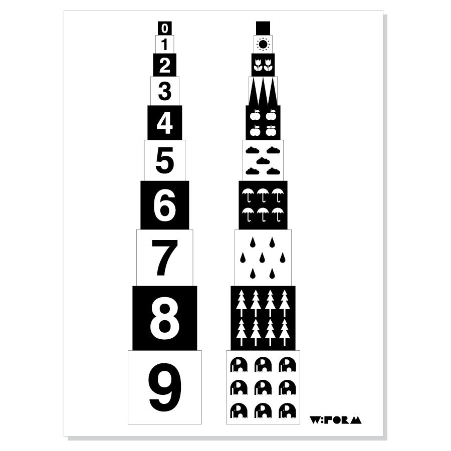 Numbers B/W 30x40cm